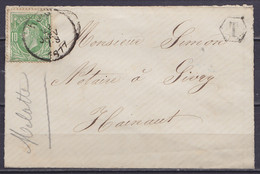 """L. Affr. N°30 Càd HUY /28 JANV 1877 Pour SIVRY - Boîte Auxiliaire """"T"""" (au Dos: Càd Arrivée Peu Marqué) - 1869-1883 Leopold II"""
