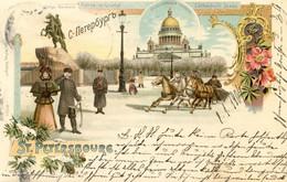 Russie - Gruss Aus St Petersbourg - Statue De Pierre Le Grand - Cathédrale Isaac - 2 Scans - Russia