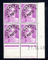 YT-N°: P 102 - MARIANNE DE GANDON, Coin Daté Du 27.10.1948, Galvano G De G+H, 2e Tirage 2e Partie, NSC/**/MNH - Voorafgestempeld