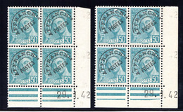 YT-N°: P 82 - MERCURE R.F., Coin Daté Du 29.01.1942, Galvano A1+A1', 2e Tirage, NSC/**/MNH - Préoblitérés