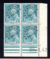 YT-N°: P 82 - MERCURE R.F., Coin Daté Du 29.01.1942, Galvano A1 De A1+A1', 2e Tirage, NSC/**/MNH - Voorafgestempeld