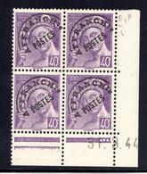 YT-N°: P 81 - MERCURE P.F., Coin Daté Du 31.03.1944, Galvano E De E+F, 4e Tirage, NSC/**/MNH - Voorafgestempeld
