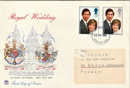 Rare Enveloppe Royal Wedding Charles Et Lady Di 1981 - 1981-1990 Dezimalausgaben