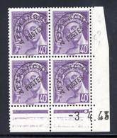 YT-N°: P 81 - MERCURE P.F., Coin Daté Du 03.04.1943, Galvano D De C+D, 1er Tirage 1er Partie, NSC/**/MNH - Voorafgestempeld