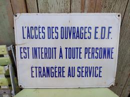 Ancienne Plaque Emaillée Danger Prévention Sécurité EDF - Autres