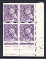 YT-N°: P 80 - MERCURE R.F., Coin Daté Du 17.05.1940, Galvano B De B+C, 4e Tirage, NSC/**/MNH - Voorafgestempeld