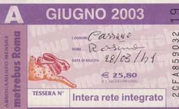 ABBONAMENTO AUTOBUS METRO ROMA ATAC GIUGNO 2003 (MK85 - Europe
