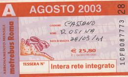 ABBONAMENTO AUTOBUS METRO ROMA ATAC AGOSTO 2003 (MK87 - Europe