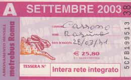 ABBONAMENTO AUTOBUS METRO ROMA ATAC SETTEMBRE 2003 (MK88 - Europe