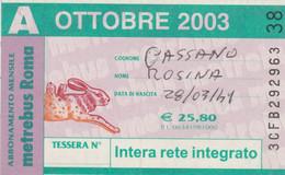 ABBONAMENTO AUTOBUS METRO ROMA ATAC OTTOBRE 2003 (MK89 - Europe