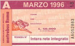 ABBONAMENTO AUTOBUS METRO ROMA ATAC MARZO 1996 (MK95 - Europe