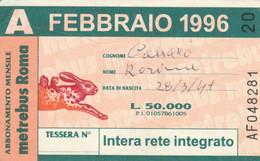ABBONAMENTO AUTOBUS METRO ROMA ATAC FEBBRAIO 1996 (MK96 - Europe