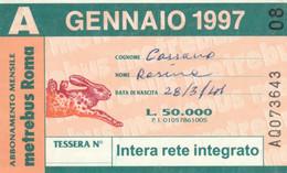 ABBONAMENTO AUTOBUS METRO ROMA ATAC GENNAIO 1997 (MK97 - Europe
