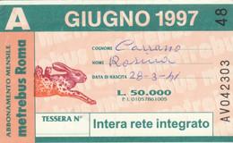 ABBONAMENTO AUTOBUS METRO ROMA ATAC GIUGNO 1997 (MK99 - Europe