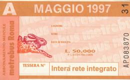 ABBONAMENTO AUTOBUS METRO ROMA ATAC MAGGIO 1997 (MK100 - Europe