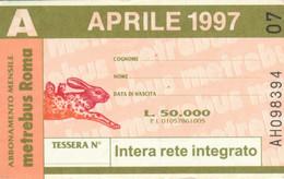 ABBONAMENTO AUTOBUS METRO ROMA ATAC APRILE 1997 (MK101 - Europe