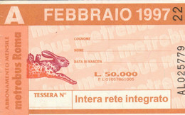 ABBONAMENTO AUTOBUS METRO ROMA ATAC FEBBRAIO 1997 (MK102 - Europe