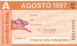 ABBONAMENTO AUTOBUS METRO ROMA ATAC AGOSTO 1997 (MK103 - Europe