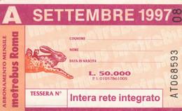 ABBONAMENTO AUTOBUS METRO ROMA ATAC SETTEMBRE 1997 (MK104 - Europe