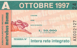 ABBONAMENTO AUTOBUS METRO ROMA ATAC OTTOBRE 1997 (MK105 - Europe