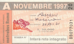 ABBONAMENTO AUTOBUS METRO ROMA ATAC NOVEMBRE 1997 (MK106 - Europe