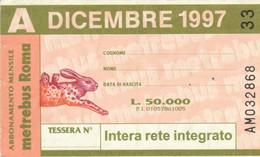 ABBONAMENTO AUTOBUS METRO ROMA ATAC DICEMBRE 1997 (MK107 - Europe