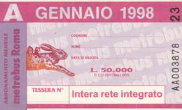 ABBONAMENTO AUTOBUS METRO ROMA ATAC GENNAIO 1998 (MK108 - Europe