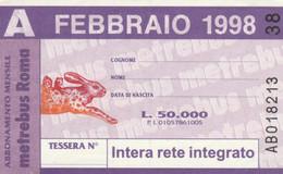 ABBONAMENTO AUTOBUS METRO ROMA ATAC FEBBRAIO 1998 (MK109 - Europe