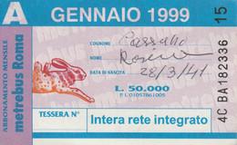 ABBONAMENTO AUTOBUS METRO ROMA ATAC GENNAIO 1999 (MK110 - Europe