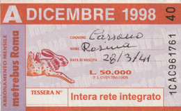 ABBONAMENTO AUTOBUS METRO ROMA ATAC DICEMBRE 1998 (MK111 - Europe