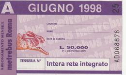 ABBONAMENTO AUTOBUS METRO ROMA ATAC GIUGNO 1998 (MK112 - Europe