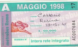 ABBONAMENTO AUTOBUS METRO ROMA ATAC MAGGIO 1998 (MK113 - Europe