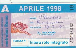 ABBONAMENTO AUTOBUS METRO ROMA ATAC APRILE 1998 (MK114 - Europe
