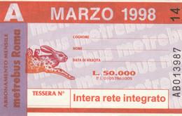 ABBONAMENTO AUTOBUS METRO ROMA ATAC MARZO 1998 (MK115 - Europe