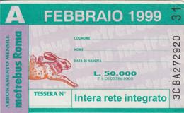 ABBONAMENTO AUTOBUS METRO ROMA ATAC FEBBRAIO 1999 (MK116 - Europe