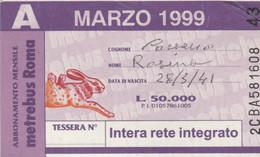 ABBONAMENTO AUTOBUS METRO ROMA ATAC MARZO 1999 (MK117 - Europe