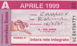 ABBONAMENTO AUTOBUS METRO ROMA ATAC APRILE 1999 (MK118 - Europe