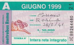 ABBONAMENTO AUTOBUS METRO ROMA ATAC GIUGNO 1999 (MK119 - Europe