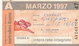 ABBONAMENTO AUTOBUS METRO ROMA ATAC MARZO 1997 (MK120 - Europe
