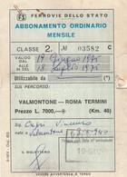 ABBONAMENTO 1975 FERROVIE VALMONTONE ROMA TERMINI-non Perfetto (MK270 - Europe
