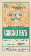 ABBONAMENTO ATAC ROMA BUS METRO GIUGNO 1975-non Perfetto (MK276 - Europe