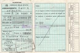 ABBONAMENTO SETTIMANALE 1975 FERROVIE VALMONTONE MAGLIANA (MK281 - Europe
