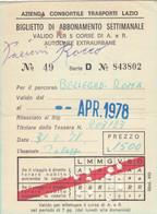 BIGLIETTO ABBONAMENTO SETTIMANALE 1975 -piega Centrale (MK283 - Europe