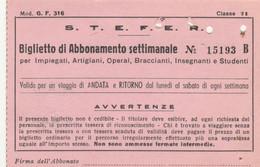ABBONAMENTO SETTIMANALE IMPIEGATI STEFER SAN CESAREO ROMA LAZIALI 1975 (MK286 - Europe