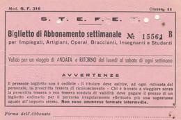 ABBONAMENTO SETTIMANALE IMPIEGATI STEFER SAN CESAREO ROMA LAZIALI 1975 (MK287 - Europe