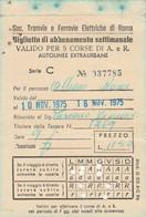 TRAMVIE E FERROVIOE ELETTRICHE ABBONAMENTO SETTIMANALE ROMA 1975 Piega (MK288 - Europe