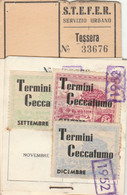 ABBONAMENTO 1952 STEFER TERMINI CECCAFUMO ROMA (MK291 - Europe