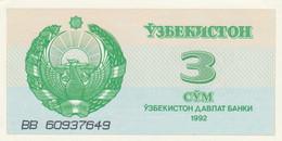 BANCONOTA UZBEKISTAN 3 UNC (MK401 - Uzbekistan