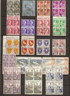 France - Petit Llot De 40 Blocs De 4 Timbres° Différents - Vrac (max 999 Timbres)