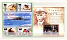 RC 20900 AITUTAKI COTE 20,50€ N° 581 / 584 + BF 83 SPORT JEUX OLYMPIQUES DE SYDNEY 2000 + COUBERTIN NEUF ** MNH TB - Aitutaki